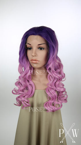 Purple and Pink Ombre Long Curly Lace Front Wig - Princess Series LP019