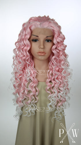 Light Pink and White Ombre Long Curly Lace Front Wig - Princess Series LPLUZ250