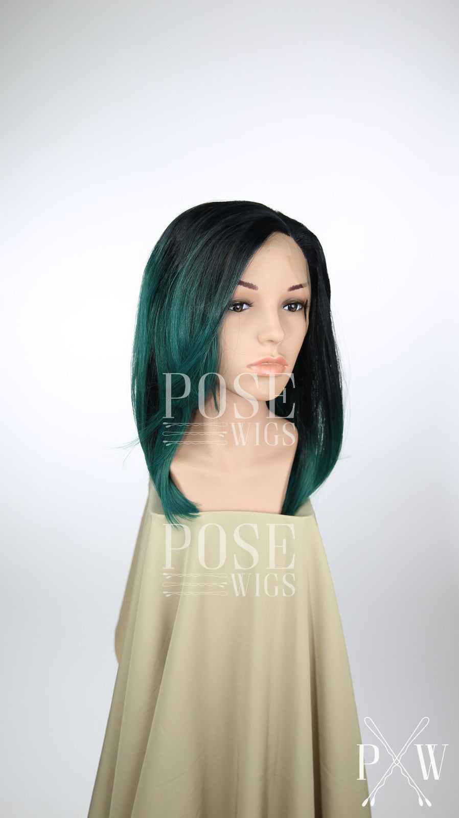 Dark Green Ombre Medium Length Straight Bob Lace Front Wig - Princess Series LP115