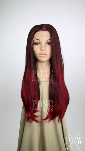 Gamora Cosplay Burgundy Red Ombre Long Straight Lace Front Wig - Princess Series LP119