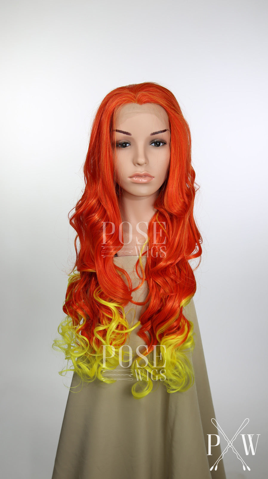 Red and Yellow Ombre Long Wavy Lace Front Wig - Princess Series LP102W