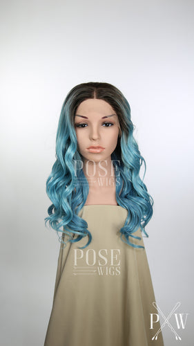 Aqua Blue Balayage Ombre Long Curly Lace Front Wig - Princess Series LPJOY262