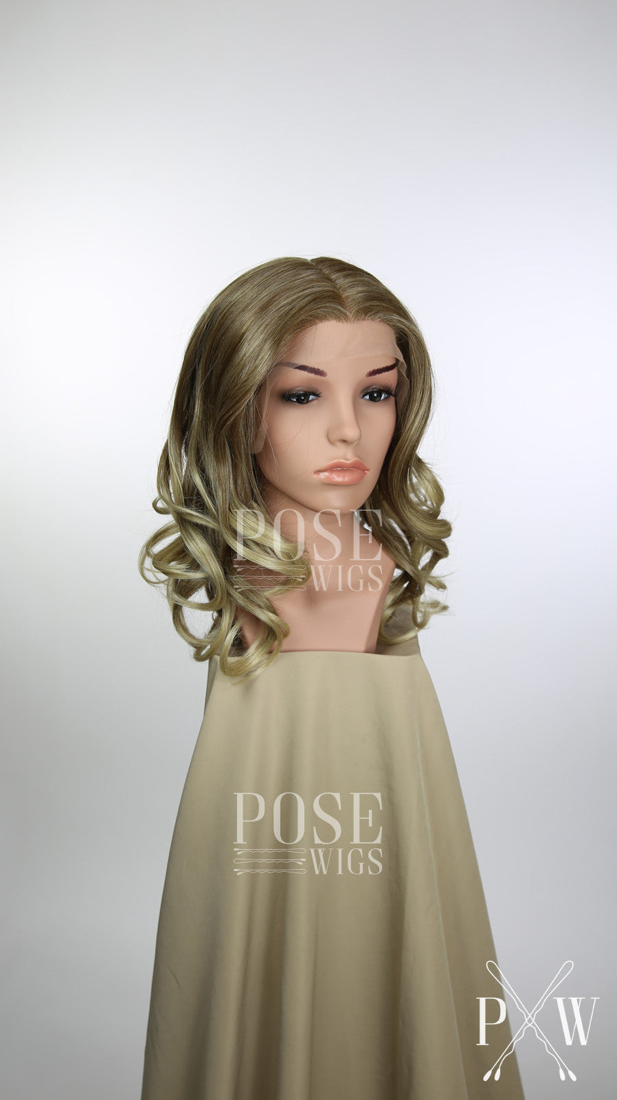 Blonde Ombre Medium Length Curly Lace Front Wig - Large Head Size Available - Queen Series LQ031