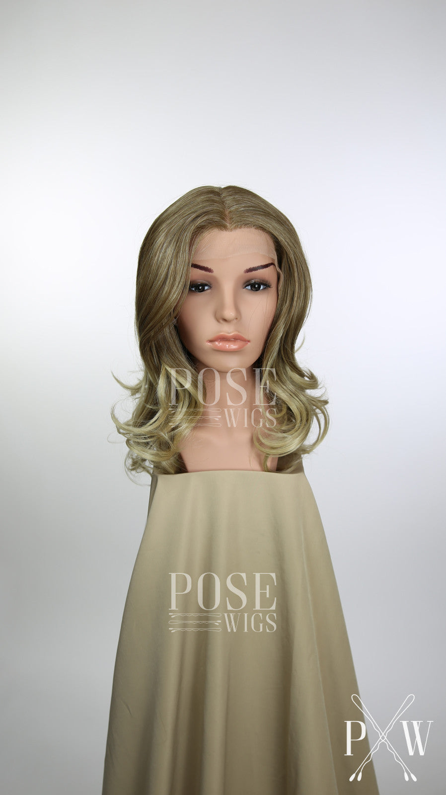 Blonde Ombre Medium Length Curly Lace Front Wig - Large 23