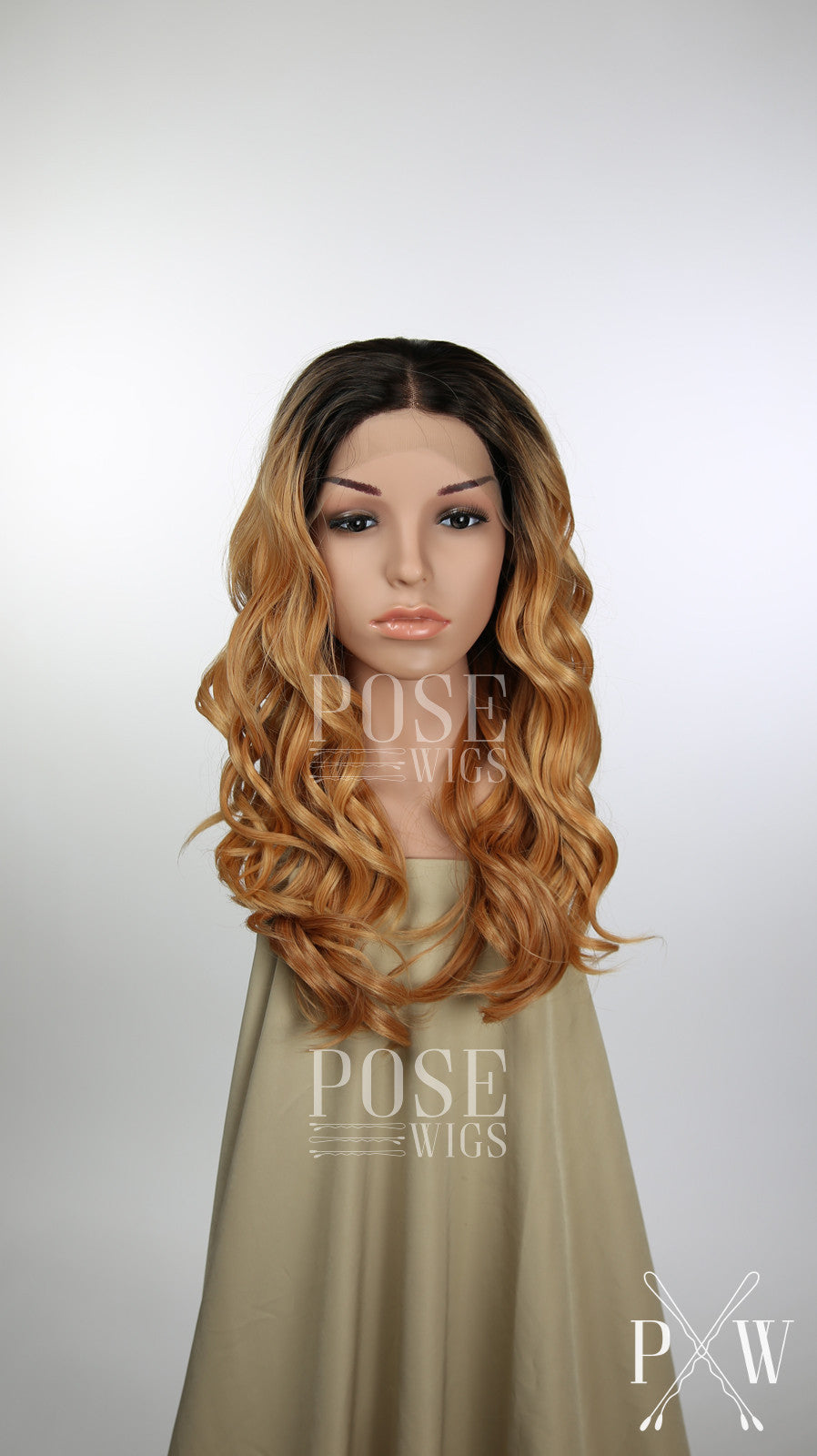 Balayage Dark Peachy Blonde Ombre Long Curly Lace Front Wig - Princess Series LP093
