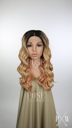 Balayage Rose Gold Blonde Ombre Long Curly Lace Front Wig - Princess Series LP100