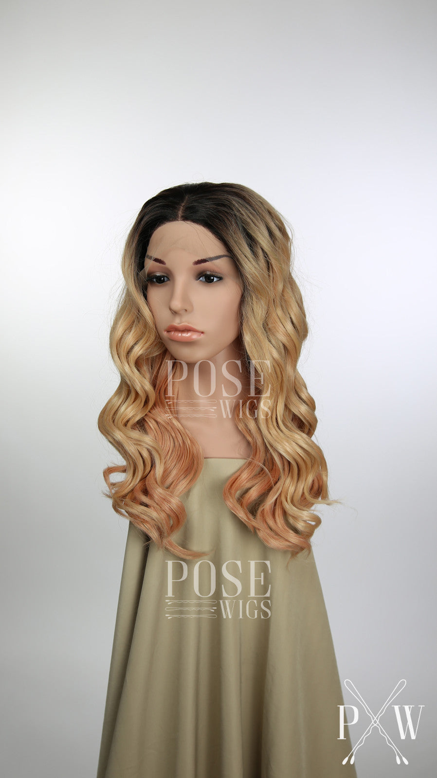 Balayage Rose Gold Blonde Ombre Long Curly Lace Front Wig