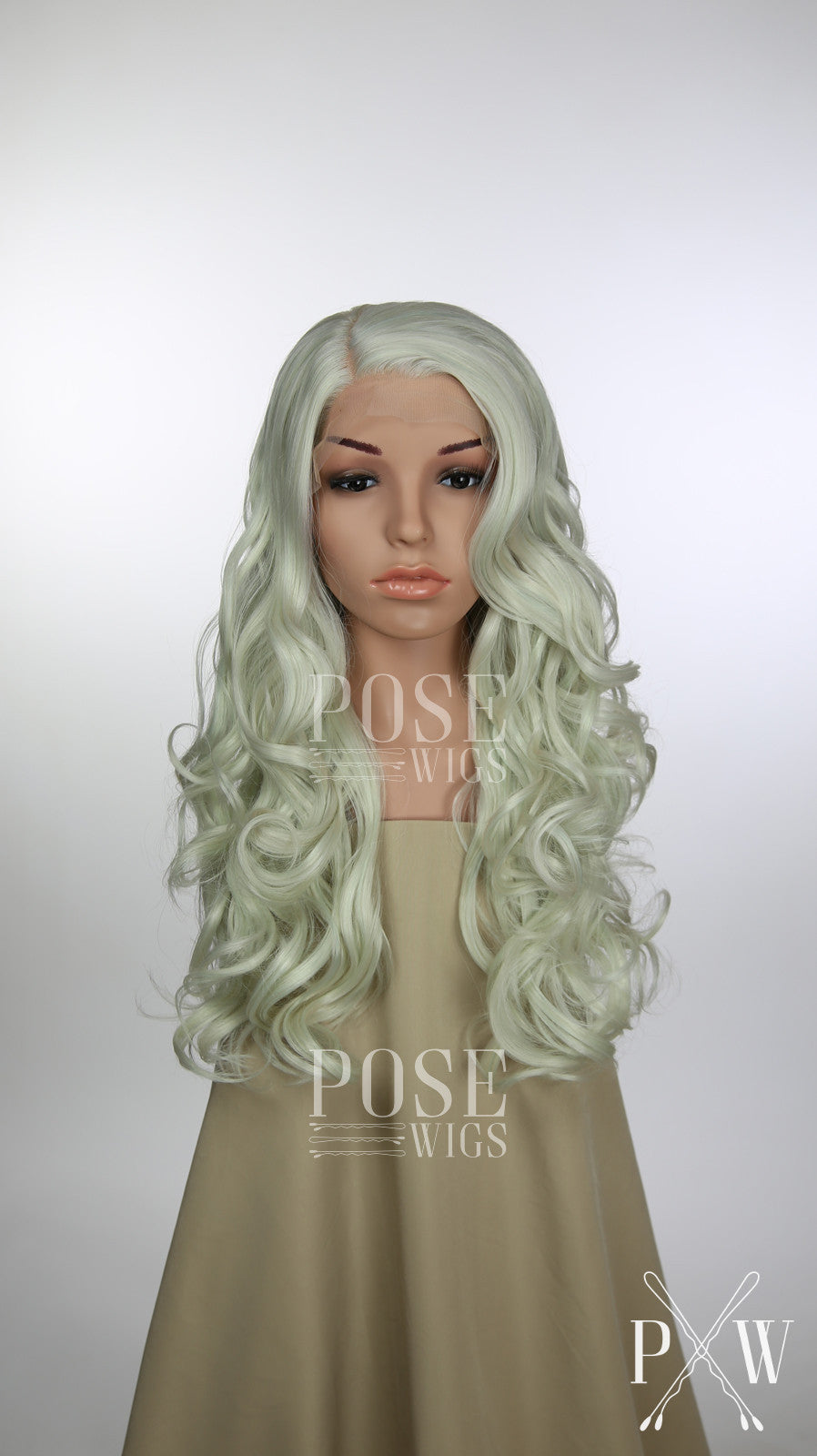 Pastel Rainbow Long Curly Lace Front Wig - White Blonde Silver Grey Pink Aqua Blue Green Princess Series LP098