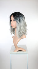 Silver Grey Ombre Medium Long Wavy Bob Lace Front Wig - Duchess Series LDHAT80