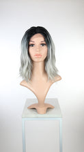 Silver Grey Ombre Medium Long Wavy Bob Lace Front Wig - Lady Series LLHAT80