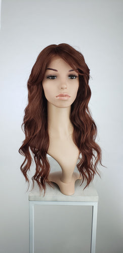 Red Long Curly with Bangs Lace Front Wig - Lady Series LLTEA90