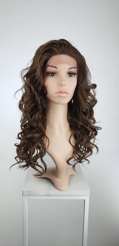 Dark Brown with Highlights Long Curly Lace Front Wig - Lady Series LLVOG18