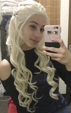 White Blonde Long Curly Lace Front Wig - Large Size Available - Princess Series LP057 LP058