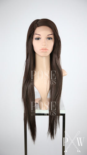 Dark Brown Long Straight with Bangs Lace Front Wig - Lady Series LLYUM10