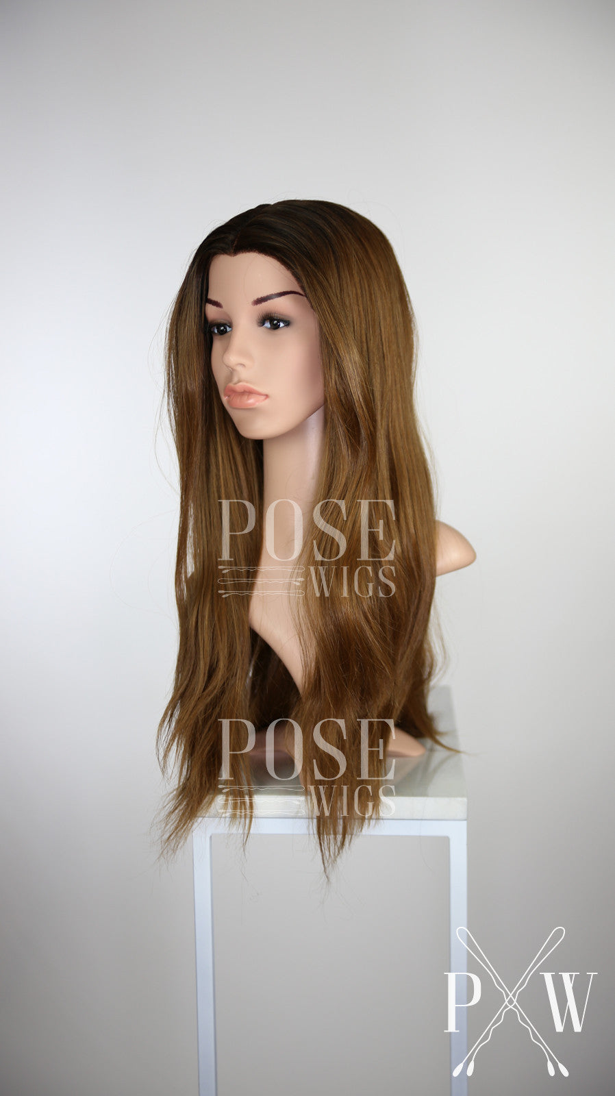 Brown Ombre Long Straight Lace Front Wig Large Size