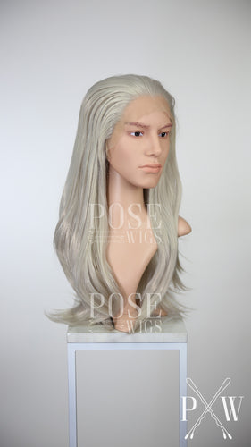 Mens Silver Grey Long Straight Lace Front Wig - Princess Series LP012