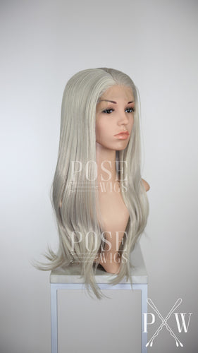 Pose Wigs Silver Grey Long Straight Lace Front Wig - Princess Series LP012