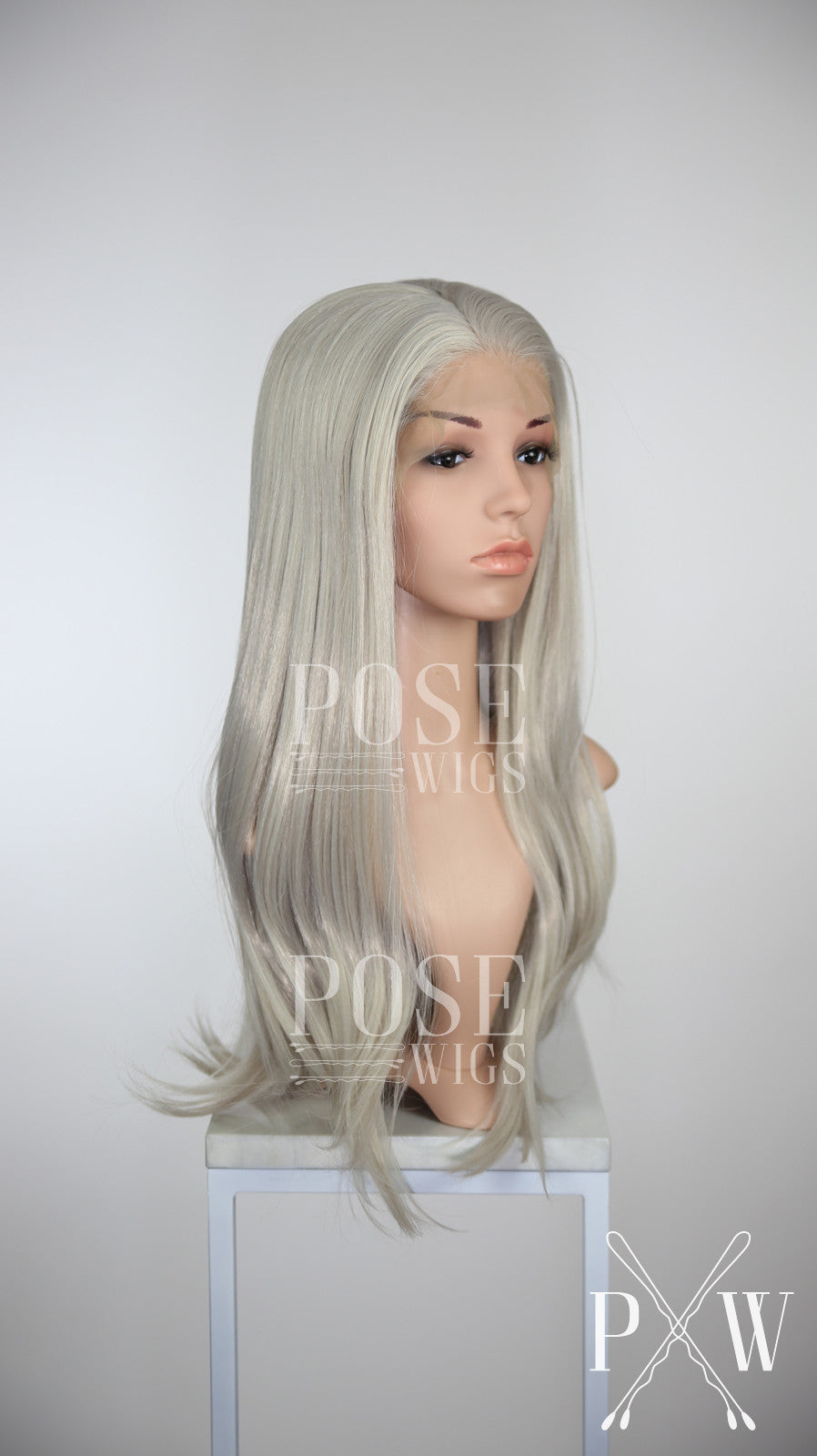 Silver Grey Long Straight Lace Front Wig - Princess Series LP012