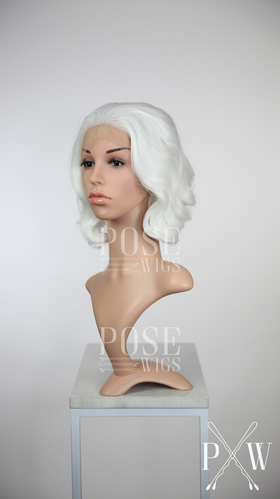 White Short Wavy Bob Lace Front Wig - Princess Series LP132