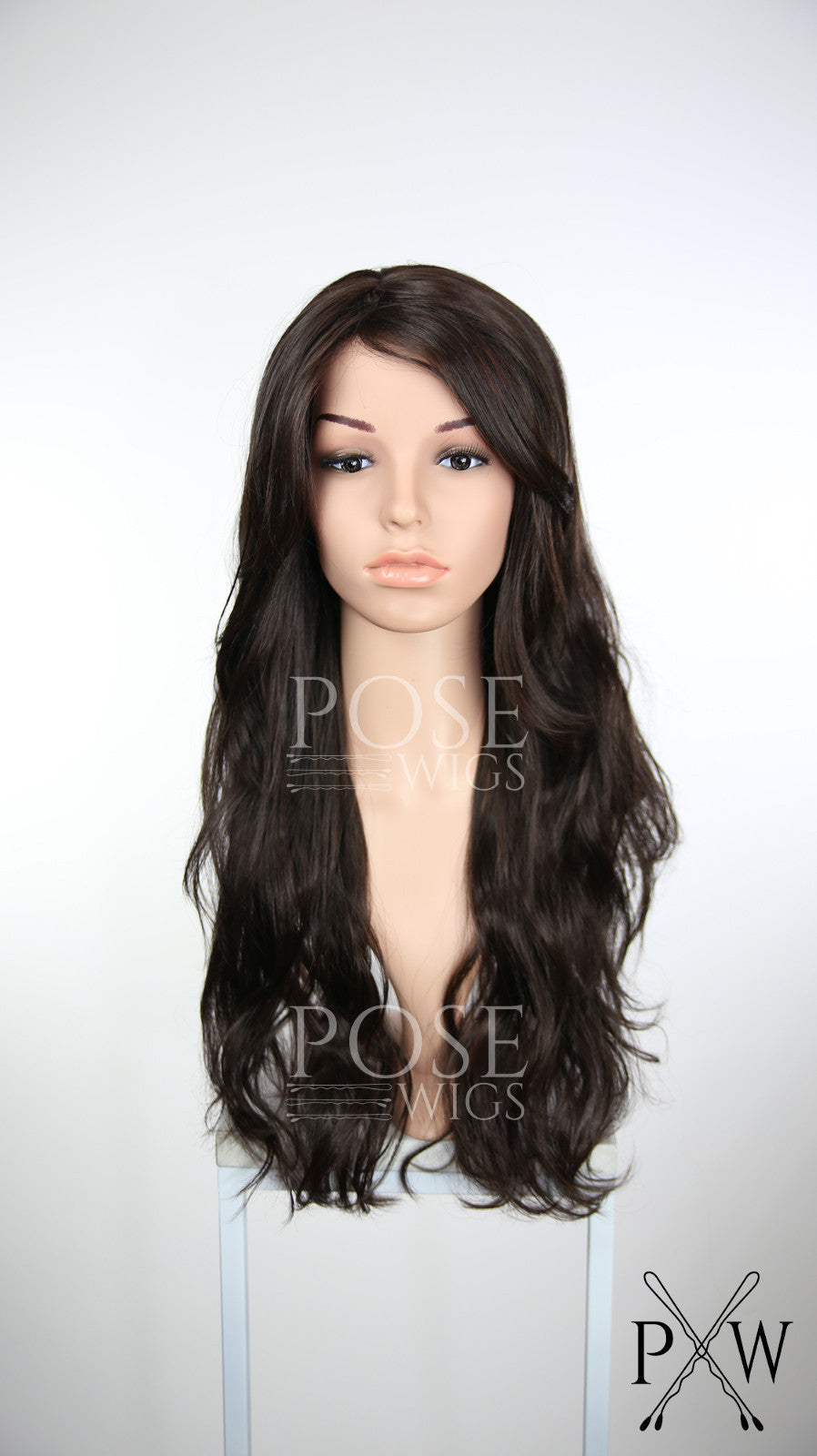 Dark Brown Long Wavy with Bangs Fashion Wig HSCAL10