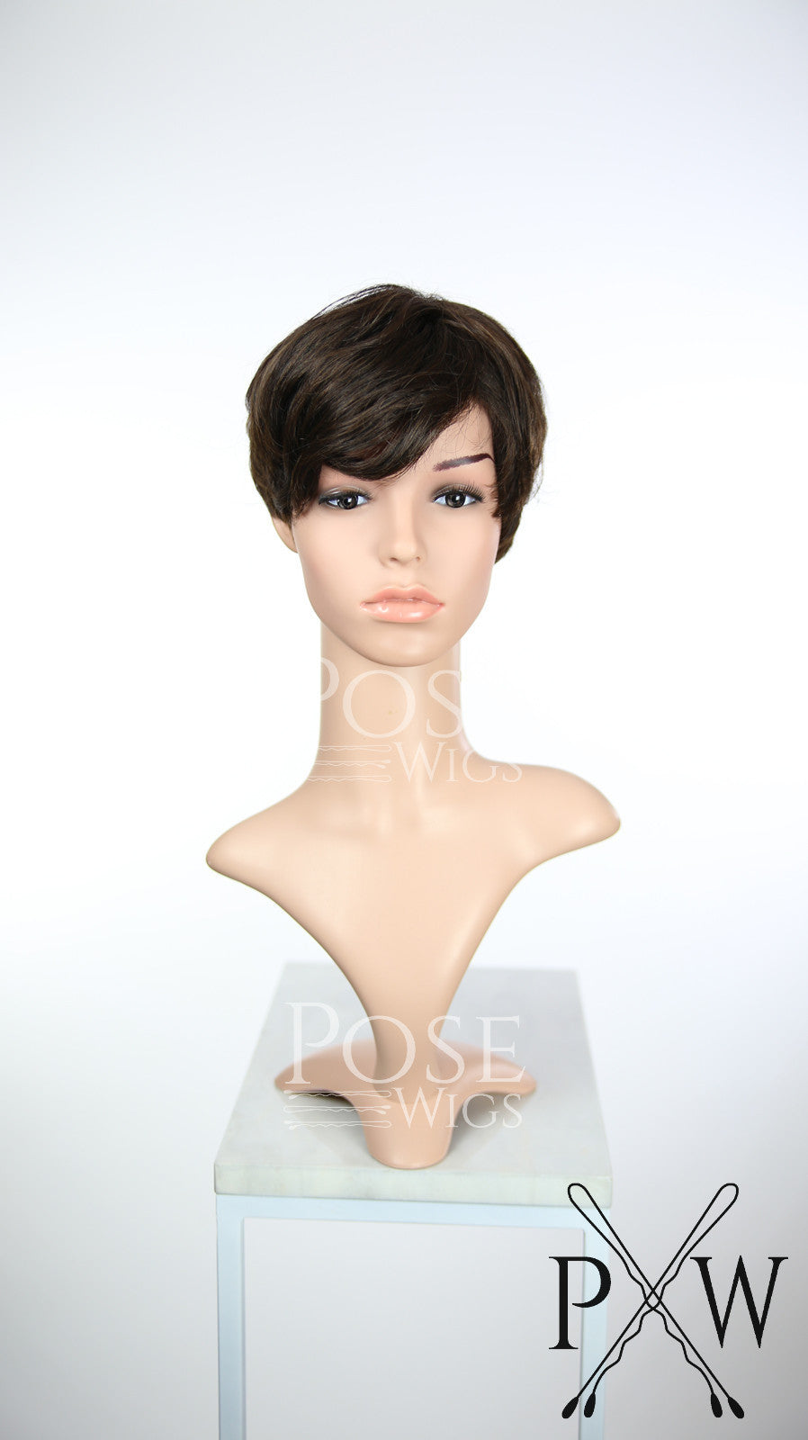 Dark Brown Short Straight 100% Human Hair Pixie Fashion Wig HFTIA10