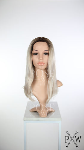 Silver Blonde Ombre Medium Length Wavy Lace Front Wig - Princess Series LP091