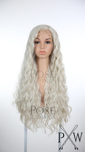 White Blonde Long Wavy Lace Front Wig - Queen Series LQ002