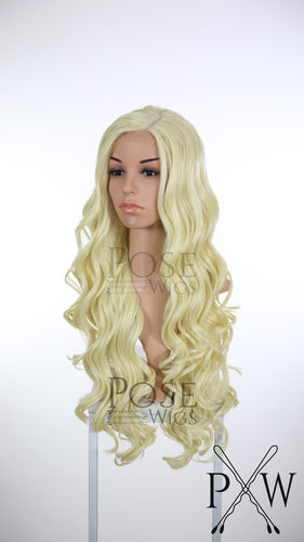 Daenerys Cosplay Wig Light Blonde Long Curly Lace Front Wig - LQ040