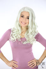 Pastel Rainbow Long Curly Lace Front Wig -White Grey Pink Blue Green Princess LPJAZ265