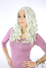 Pastel Rainbow Long Curly Lace Front Wig -White Grey Pink Blue Green Princess LP098