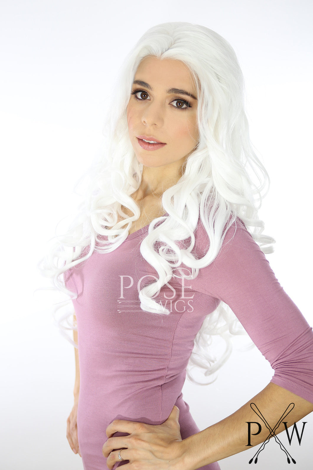 White Long Curly Lace Front Wig - Princess Series LP125
