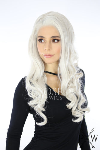 Daenerys Cosplay Wig White Blonde Long Curly Lace Front Wig - Queen Series LQ019
