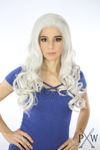 White Blonde Long Curly Lace Front Wig - Queen Series LQLUX20