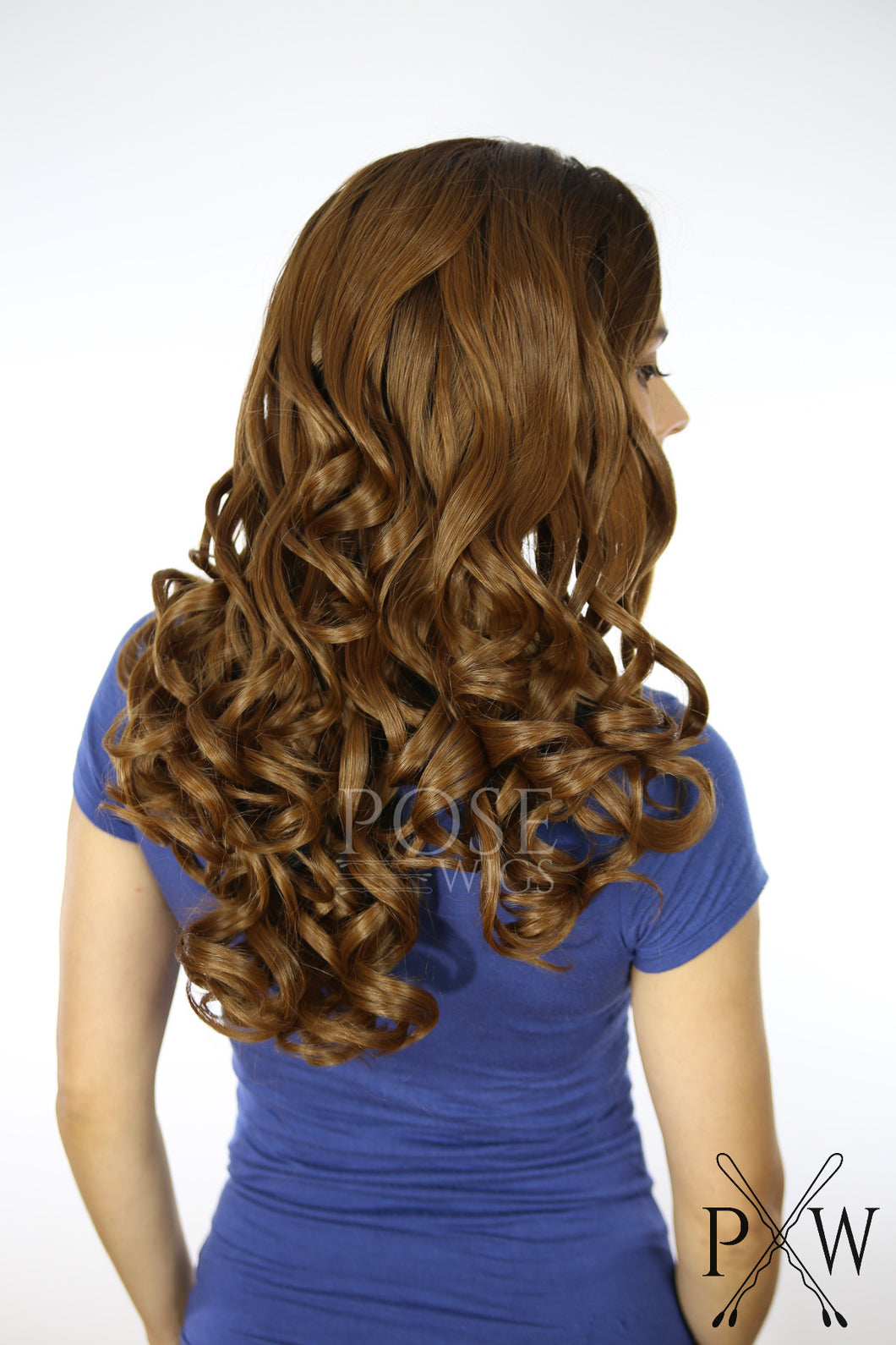 Brown Ombre Long Curly Lace Front Wig Large Size