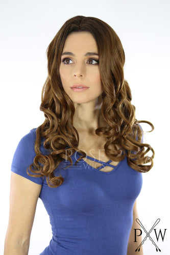 Brown Ombre Long Curly Lace Front Wig - Large Head Size Available - Queen Series LQ030-L
