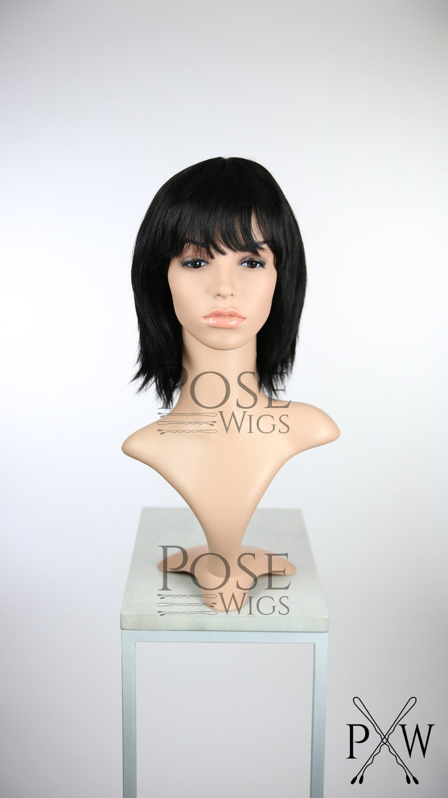 Black Short Straight with Bangs 100% Human Hair Fashion Wig HFPAI3