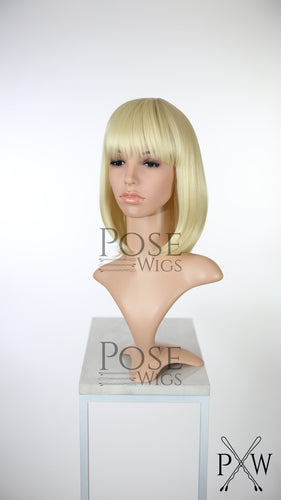 Blonde Medium Length Straight Bob with Bangs Fashion Wig HSDAR44