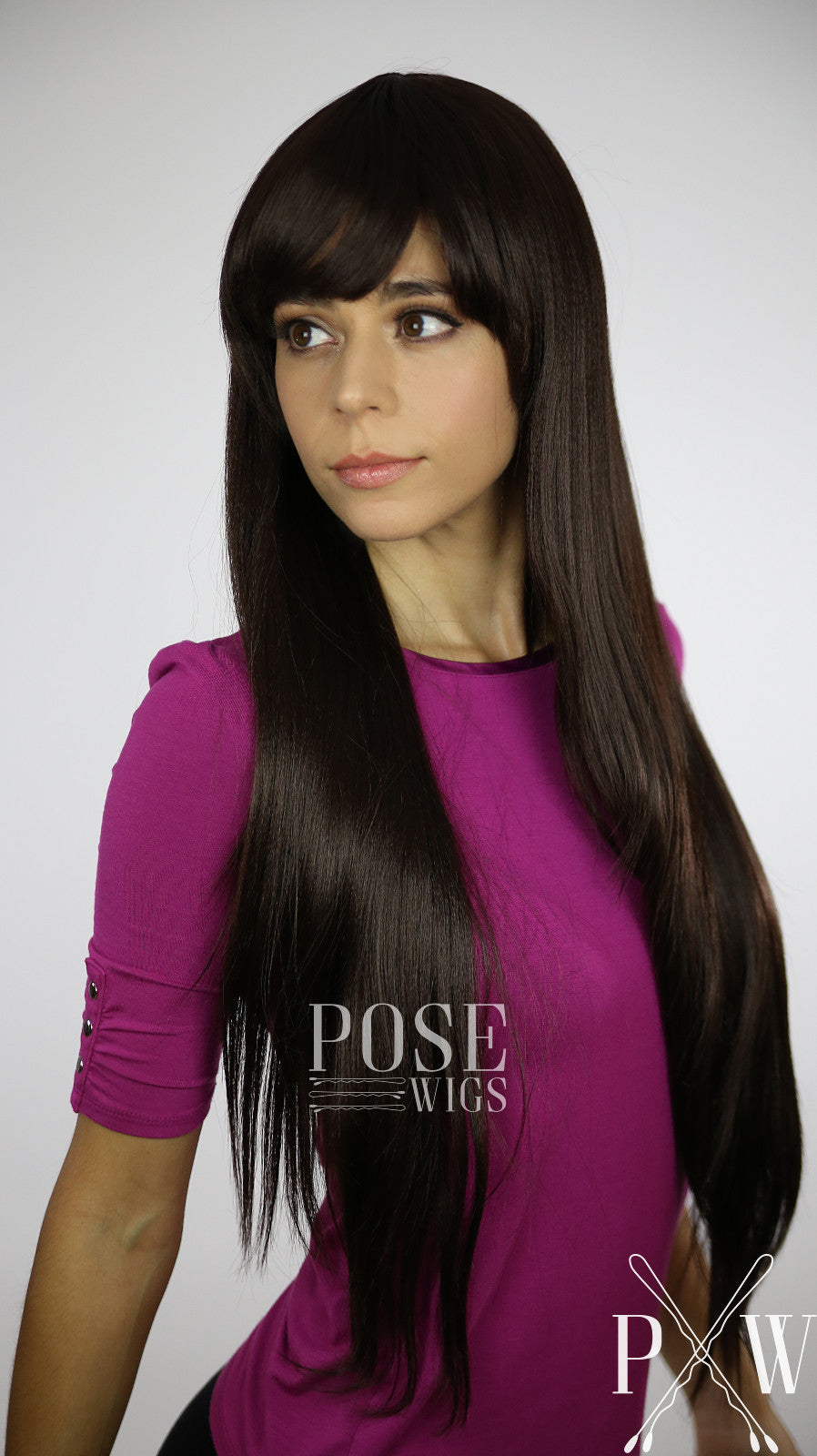Dark Brown Long Straight with Bangs Fashion Wig HSNAS10