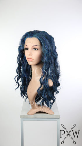Midnight Blue Mix Long Curly Lace Front Wig - Princess Series LP153