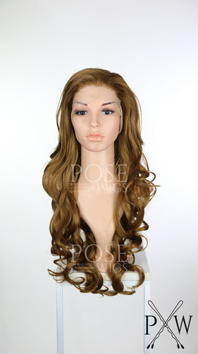 Light Brown / Dark Strawberry Blonde Long Curly Lace Front Wig - Princess Series LP149