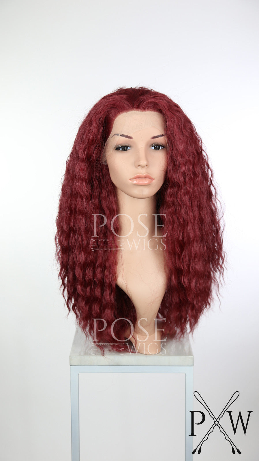 Red Long Curly Lace Front Wig - Princess Series LP158 - Maroon Burgundy Wine Purple