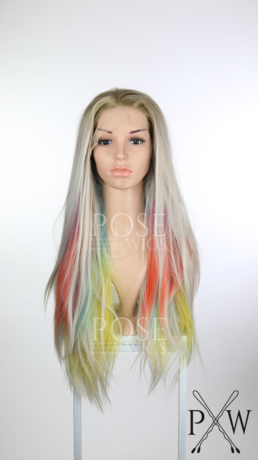 Aurora Borealis Balayage Rainbow Ombre Long Straight Lace Front Wig Princess Series LP161