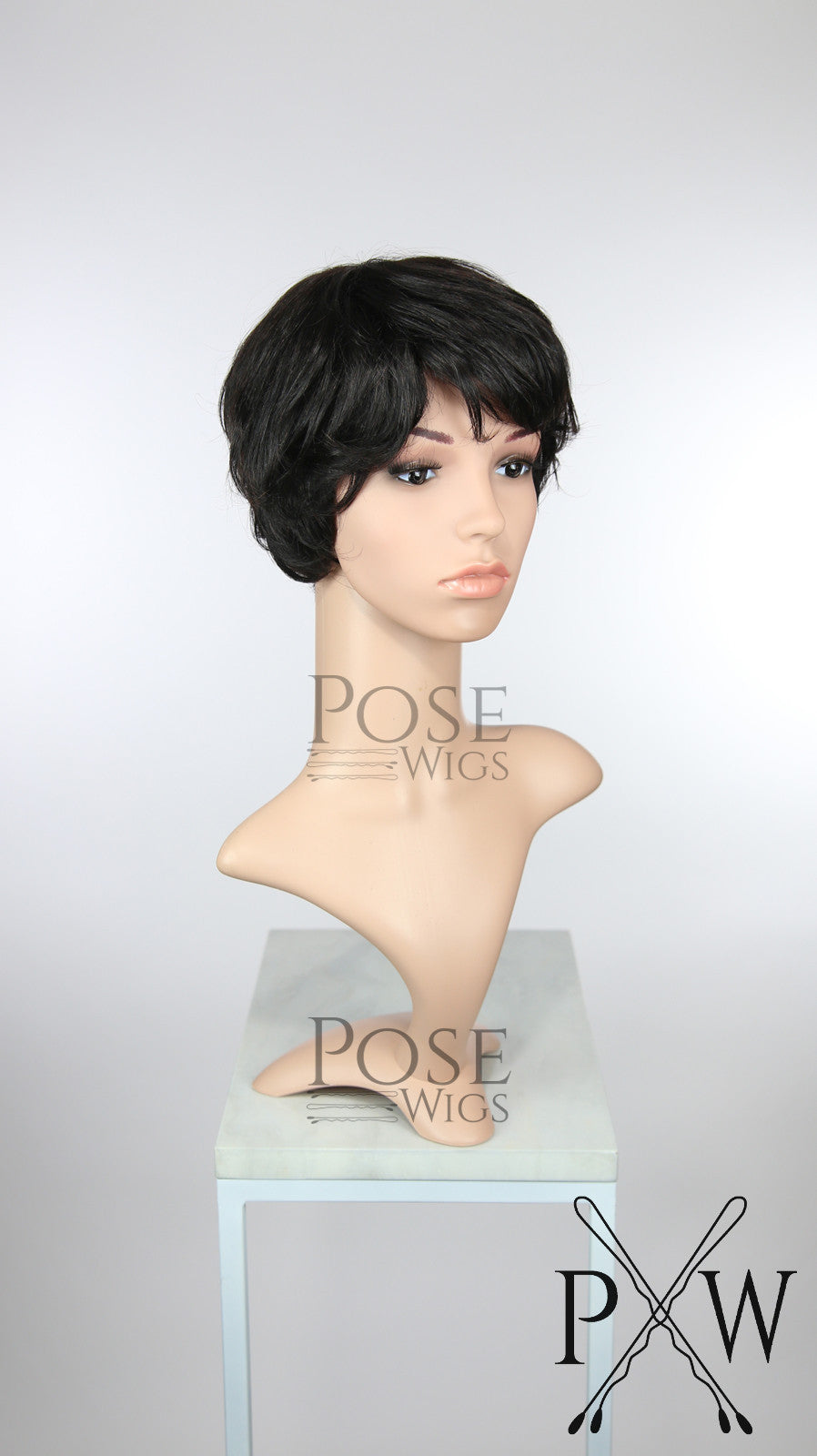 Natural Black / Dark Brown Short Straight 100% Human Hair Pixie Fashion Wig HFTAN59