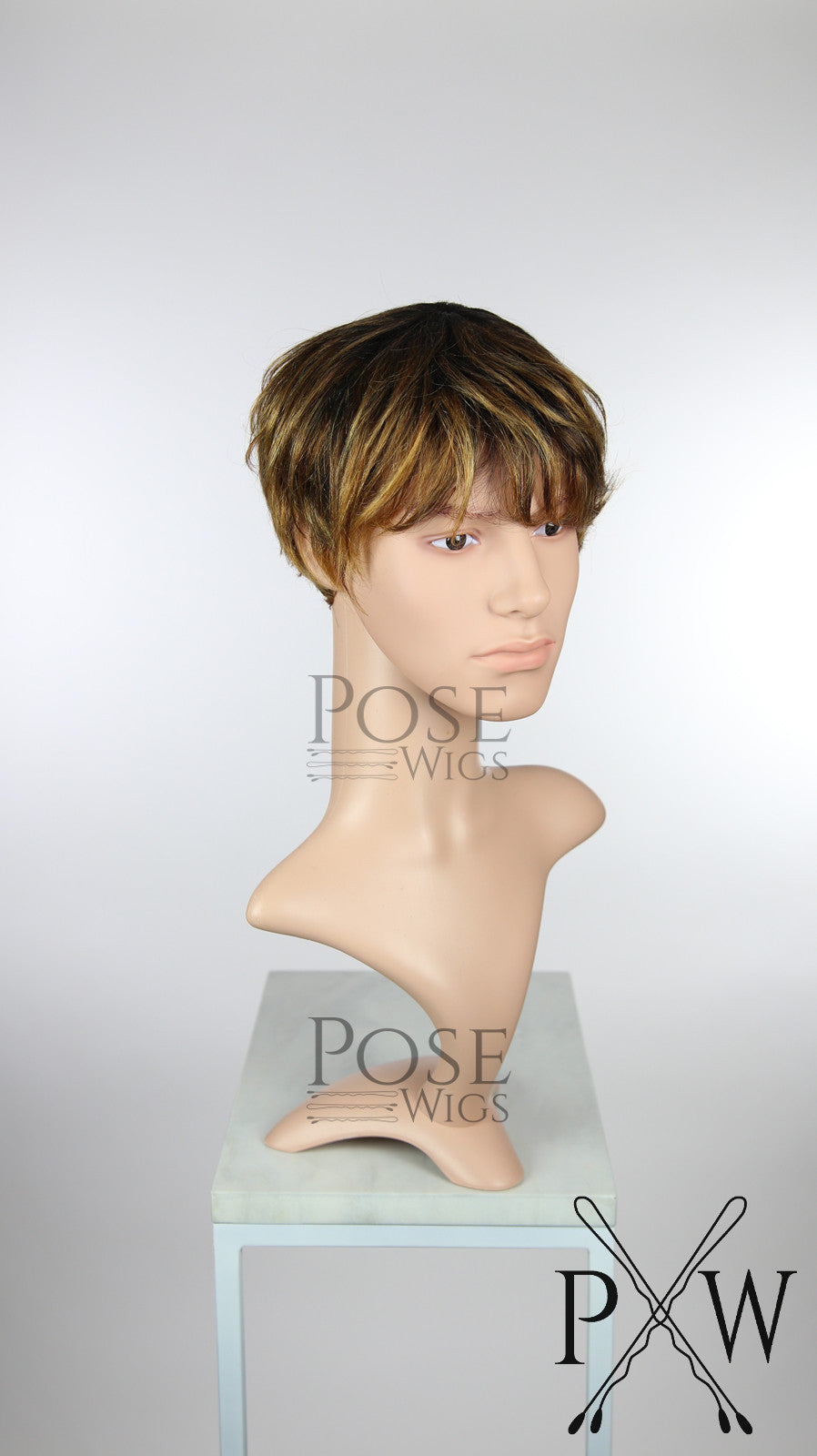 Mens Brown Mix Short Straight 100% Human Hair Fashion Wig HFTAN227