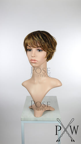 Brown Ombre Short Straight 100% Human Hair Pixie Fashion Wig HFTAN227