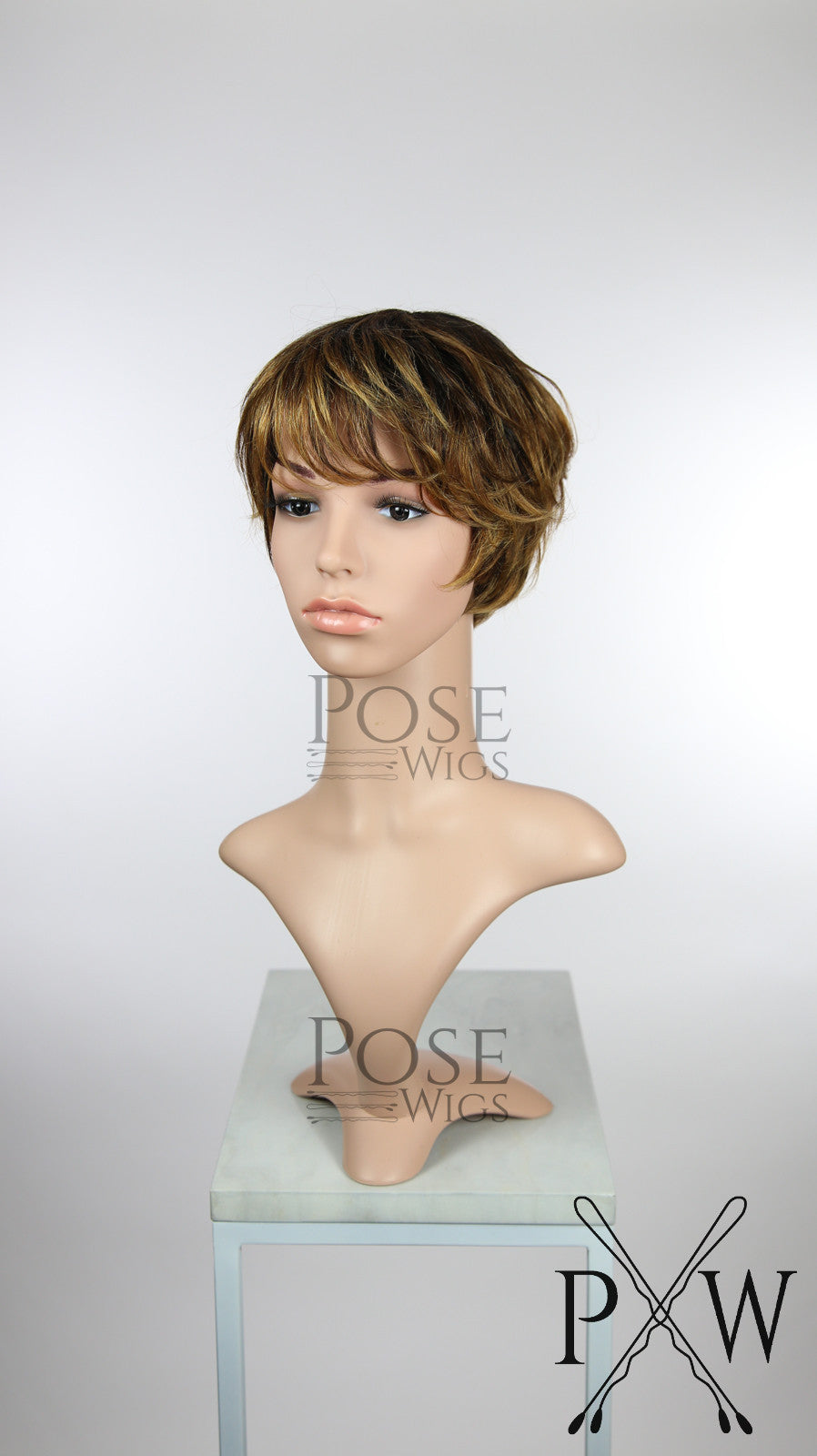 Brown Ombre Short Straight 100 Human Hair Pixie Fashion Wig