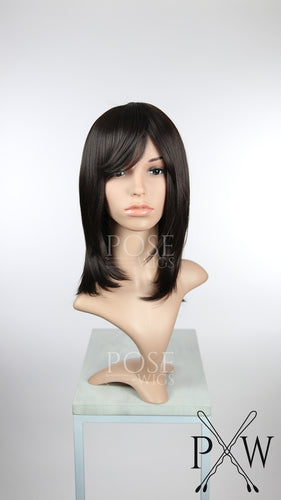 Dark Brown Medium Length Bob with Bangs Fashion Wig HSKLY10