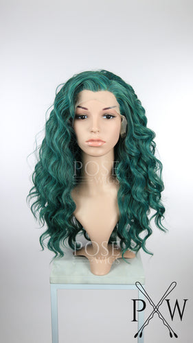 Dark Green Mix Long Curly Lace Front Wig - Princess Series LP080