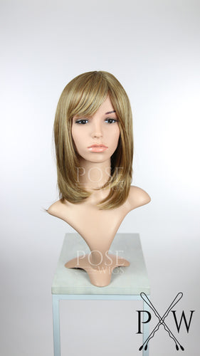 Brown Mix Medium Length Bob with Bangs Fashion Wig HSKLY26