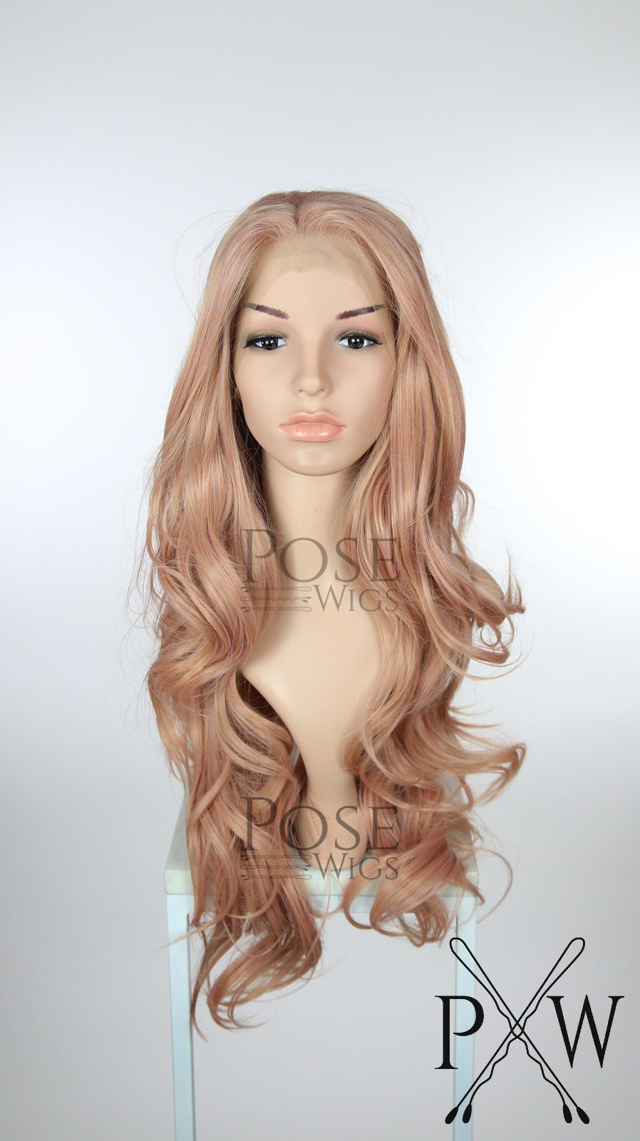 Pink Mix Long Wavy Lace Front Wig - LP163